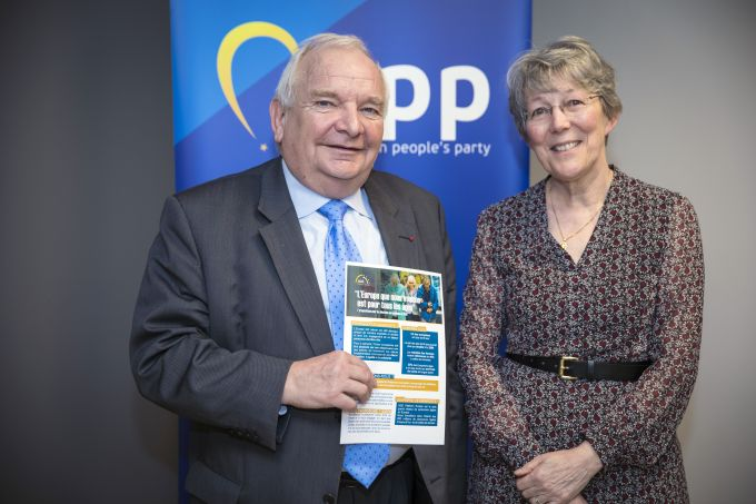 The President of the European People's Party, Mr Joseph Daul, receives the AGE Manifesto from AGE Secretary-General, Anne-Sophie Parent
