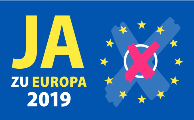 """A cross made on an electoral ballot, surrounded by European stars and the text """"Ja zu Europa 2019"""""""