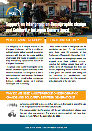 Flyer on supporting an intergroup on demographic change and solidarity between generations