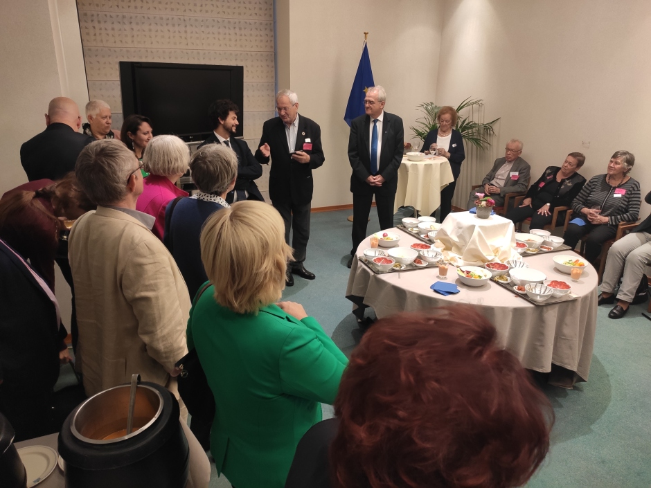Ebbe Johansen - AGE President - giving an introductory speech at the European Parliament ceremony with MEPs and AGE member organisations